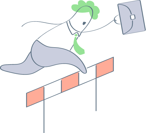 tegning af kontorarbejder der hopper over forhindring
